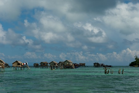 East Malaysia. Sibuan island near the city of Semporna. Calm in the fishing village of sea gypsies Stock fotó
