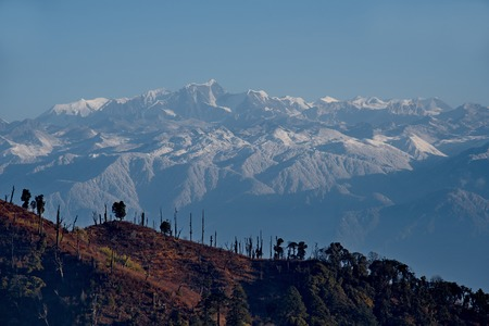 View of the snow-covered Himalayas from a height of 3250m. Eastern India, Arunachal Pradesh, Southern Himalayas on the border with Nepal. 写真素材
