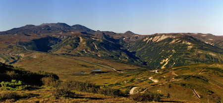 Russia. far East. The hillside of Kamchatka Peninsula are almost all covered with stone birch, cedar and various shrubs. 写真素材
