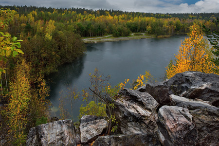 Russia. Karelia. Ruskeala mountain Park is a former marble quarry filled with groundwater. Stock Photo