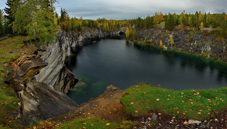 Russia. Karelia. Ruskeala mountain Park is a former marble quarry filled with groundwater. Stok Fotoğraf