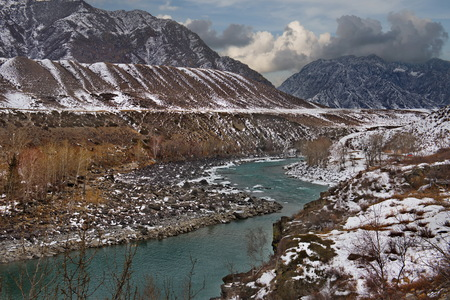 Russia. mountain Altai. Katun river along the river near Maly Yaloman