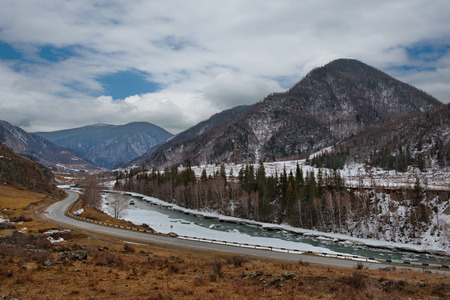 Chui tract in all its glory. Russia. Mountain Altai. Chui tract along the Katun river.