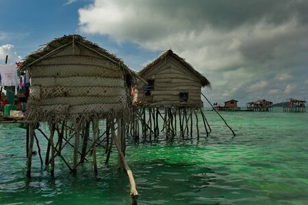 East Malaysia. Sibuan island near the city of Semporna. Calm in the fishing village of sea gypsies 스톡 콘텐츠