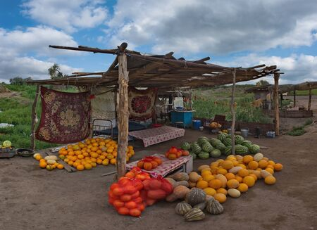 South-East Kazakhstan. Melon market along the Kegen - Almaty highway, where local farmers sell melons and watermelons.