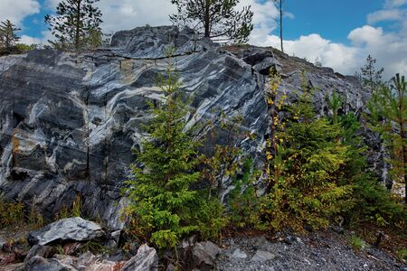 Russia. Karelia. Ruskeala mountain Park is a former marble quarry filled with groundwater. 스톡 콘텐츠