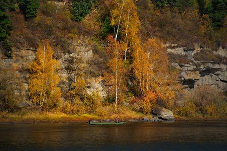 Russia. South Of Western Siberia, Kuznetsk Alatau. The upper reaches of the Tom river near the city of Mezhdurechensk. 스톡 콘텐츠