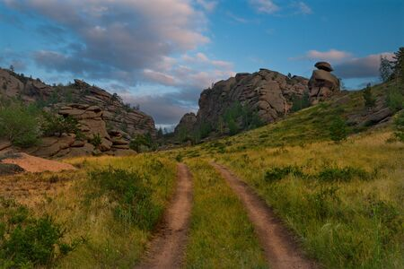 Eastern Kazakhstan. Summer evening in the mountains of Bayanaul national Park