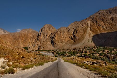 Central Asia. Tajikistan. The southernmost part of the Pamir highway in the valley of the border river Panj.