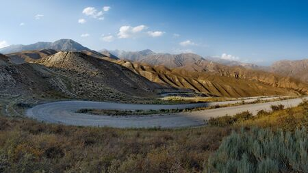 Kyrgyzstan. The famous Kaldamo pass (height 2985m) on the Jalal-Abad - Naryn highway. Фото со стока