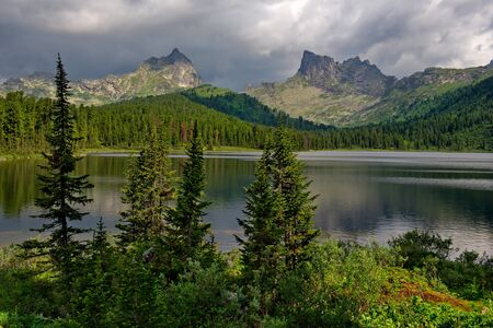 Russia. Krasnoyarsk region, East Sayan mountains. Lake Svetloye in the natural mountain Park Ergaki (translated from the Turkic