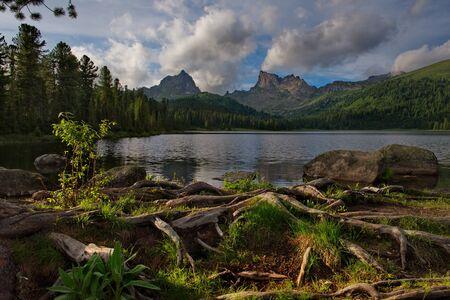 Russia. Krasnoyarsk region, East Sayan mountains. Lake Svetloye in the natural mountain Park Ergaki (translated from the Turkic