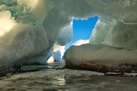 Russia. Eastern Siberia, lake Baikal. Ice caves of Olkhon island from the Small sea.