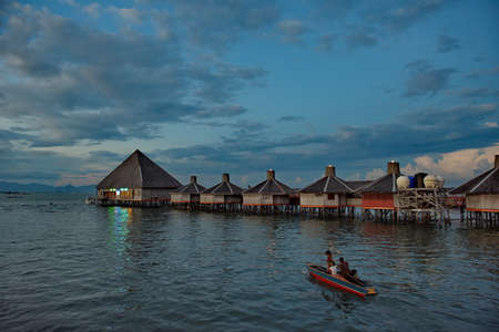 Semporna. Malaysia. November 26, 2018. Marine hotel on stilts in the center of the resort town. This place is very popular with divers all over the world due to the surrounding coral reefs.
