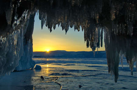 Russia. Eastern Siberia. Bizarre icicles of numerous caves and grottoes on Olkhon island of lake Baikal.