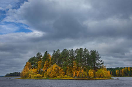 Russia. republic of karelia. Autumn on the overgrown Islands of lake Vodlozero, famous for its wooden Orthodox churches.