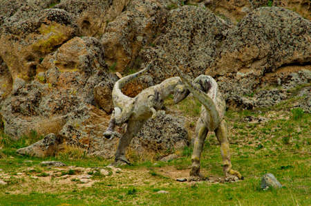 Terelj. Mongolia. June 09, 2015. Sculpture of a prehistoric dinosaur of the open-air museum in the Gorkhi-Terelj natural mountain Park near the city of Ulaanbaatar.