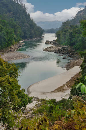 East India, Arunachal Pradesh, Kameng river (right tributary of the Brahmaputra river). Turbulent rivers of the southern Himalayas.