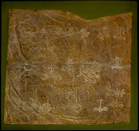 Ulaanbaatar. Mongolia. June 10, 2015. Rock paintings (petroglyphs) of the Bronze Age from the exhibition at the Mongolian National Historical Museum.