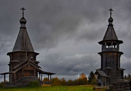 Kuganavolok, Karelia. Russia. October 03, 2018. The Orthodox Church of Elijah the Prophet, built entirely of wood, of the St. Elijah Monastery on the island of Maly Kolgostrov on Lake Vodlozero.