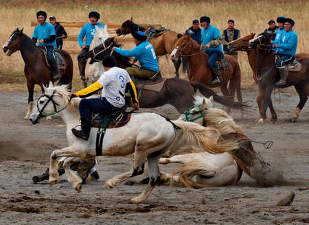 Kupchegen. Russia. May 14, 2021. Altai National Equestrian Game Kok-Boru. The moment of the fall of the rider of one of the teams during the attack on the enemy's gate. Sajtókép