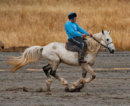 Kupchegen. Russia. May 14, 2021. Altai men demonstrate the art of riding, which they learn all their lives from the very young years. Sajtókép