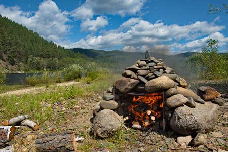 Russia. Chita region. The initial stage of preparing a hiking bath