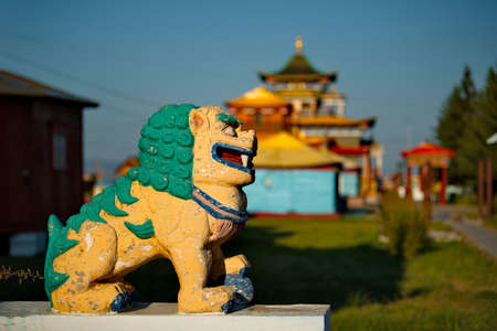 Ulan-Ude. Russia. August 28, 2021. A sculpture of a mythological lion at the entrance to the Ivolginsky datsan, located near the capital of Buryatia. Éditoriale