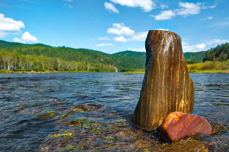 Russia. Chita region. Picturesque stones on the rifts of the mountain river Burkal, whose waters are directed into Lake Baikal.
