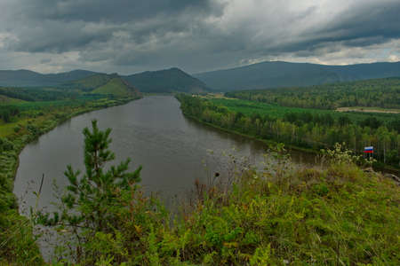 Russia. Chita region. Panoramic view of the Chikoy River from the top of the coastal mountain near the village of Red Priisk.