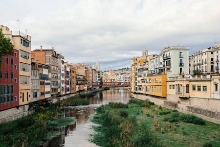 Old town at the river in Girona Banco de Imagens