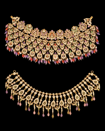 Indian Gold Necklace set isolate photo