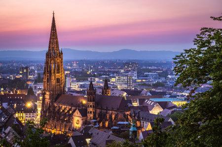 Munster Freiburg in Germany Baden Wurttemberg Blue Hour Long Exposure