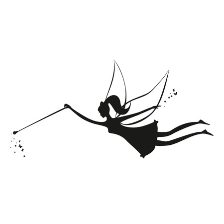 wand: Fairy flying. Fairy black silhouette with a magic wand. Vector illustration of Fairy with a magic wand - isolated on white background. Stencil fairy.
