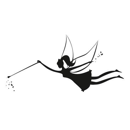 vliegende fee. Fee zwart silhouet met een toverstokje. Vector illustratie van Fairy met een toverstaf - op een witte achtergrond. Stencil fee. Stock Illustratie