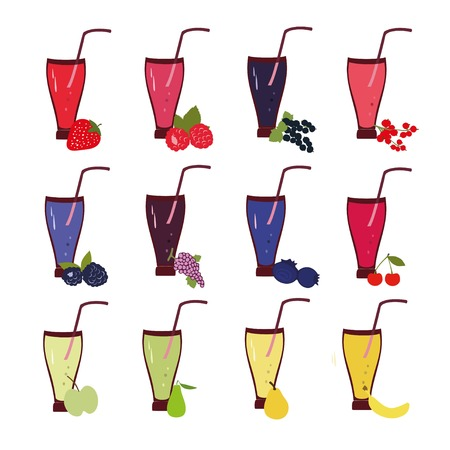 berries fruit: Fruit and berries smoothie vector set. Vector fruit smoothies in flat style.  Healthy fruit smoothies color set. Healthy berries smoothies color set. Fresh smoothies for healthy life.