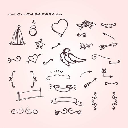 birdcage: Hand drawn design elements in doodle style set. Design elements of ornate, arrow frame heart ring bird flower banner birdcage love.
