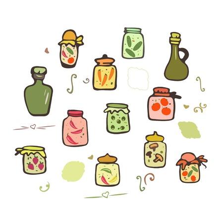 tinned: Doodle jars pickles. Preserved vegetables  in jars set. Hand drawing doodle pickles.