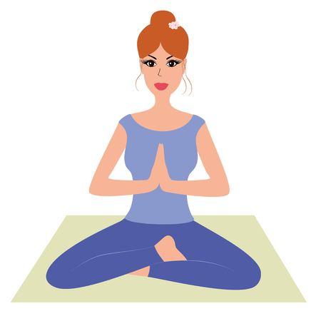 namaste: Beautiful woman practicing yoga, namaste pose vector illustration. Cute girl practicing meditation