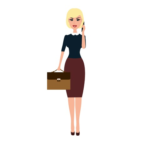 young businesswoman: Vector Business woman with a briefcase talking on phone. Caroon blonde business woman with briefcase talking on the phone isolated on white background. Illustration