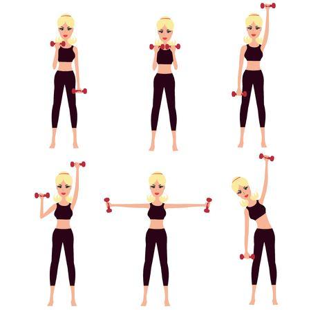 Muchacha hermosa que hace complejo de entrenamientos físicos con pesas. Conjunto de la mujer de dibujos animados trabajar con pesas. Mujer el ejercicio con pesas.