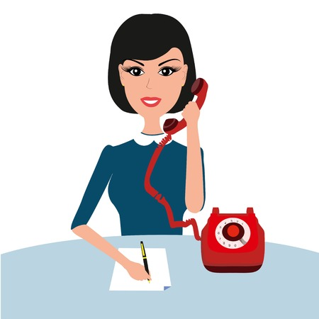 secretary phone: Vector businness woman on table with phone. Young businesswoman woman talking phone at the office. Vector secretary illustration. Businness woman with telephone. Illustration
