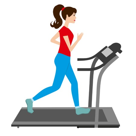 runs: Young woman runs on a treadmill. Sports trainer. Young Girl run treadmill vector illustration