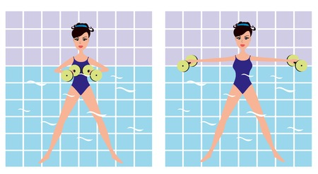 aerobics class: Beautiful girl doing Aqua aerobics. Vector girl doing physical exercise in the water. Cartoon Women making aqua gym exercises with dumbbells in swimming pool. Illustration