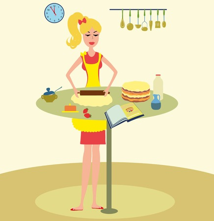 baking cake: Woman baking cake in kitchen illustration. Girl cooking cake for cookbook. Pretty Woman baking cake . Housewife cooking for cookbook.Housewife in the kitchen.