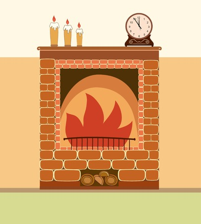 fireplace home: Fireplace illustration. Elements of home design