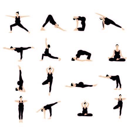 postures: Yoga postures silhouette set