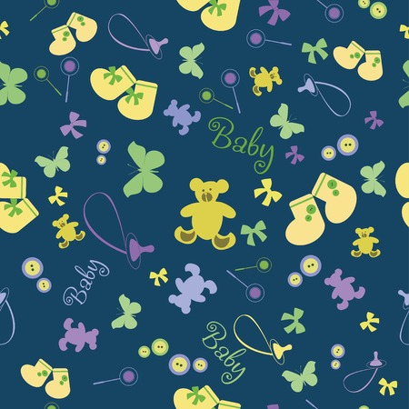 bootees: Baby pattern with bootees and bear. Colorful baby seamless pattern for wallpaper, scrapbook, fabric, Illustration