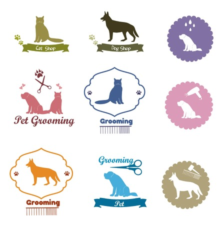 grooming: Pet grooming set, Pet shop emblem set, pet element collection Illustration
