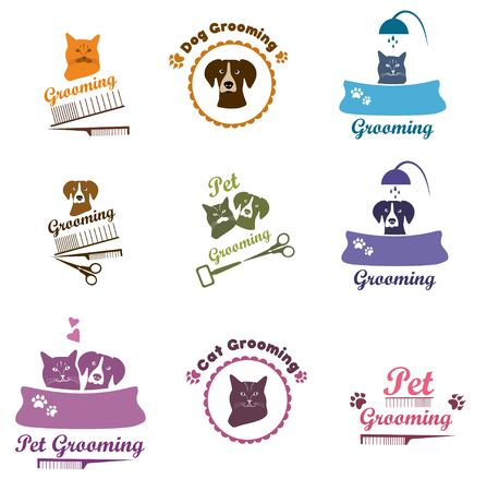 Pet shop labels and badges. Set pet grooming, dog grooming labels, badges. Illustration